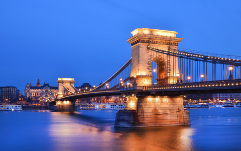 The evening view of the Chain bridge  the Danube and Buda side f