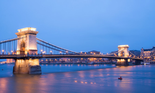 The sunset view of the Chain bridge  the Danube river and Pest s