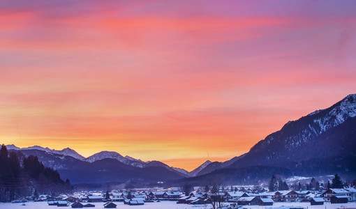 Colotful winter sunset in Garmisch Partenkirchen in Bavarian Alp