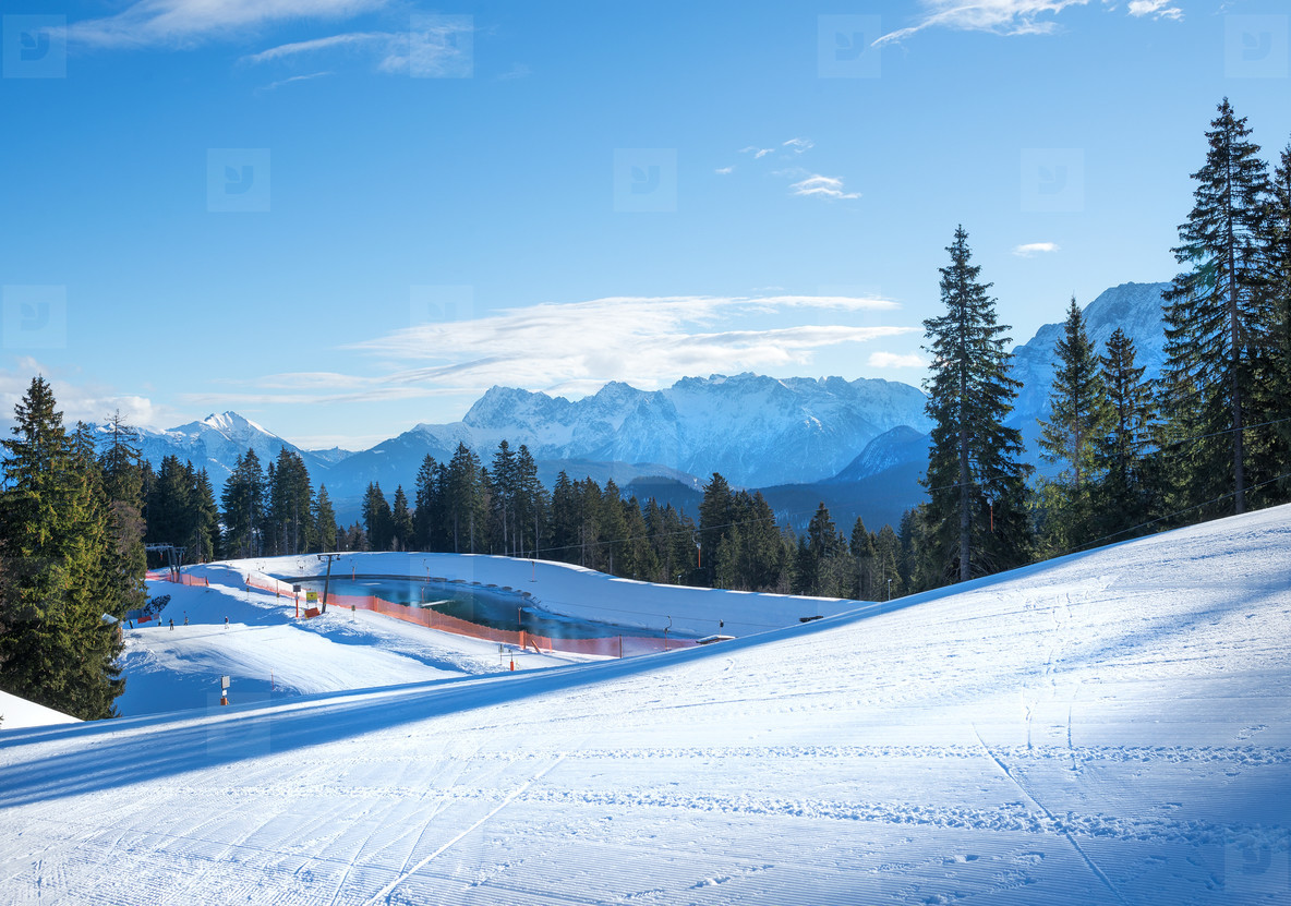 The slopes for mountain skiing at Hausberg top near Garmisch Par