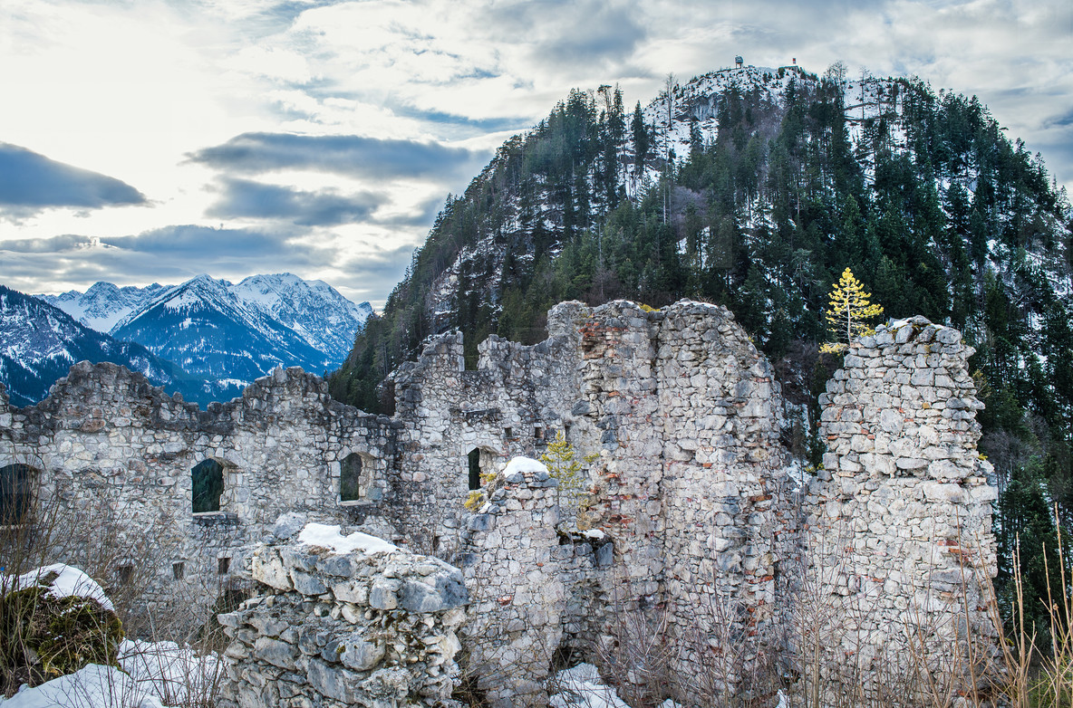 View point in the Ehrenberg castle in Titol Alps  Austria  obser