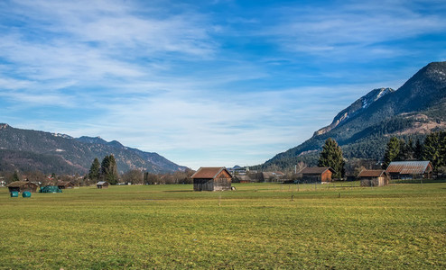 The green valley in Bavarian Alps near Garmisch Partenkirchen to