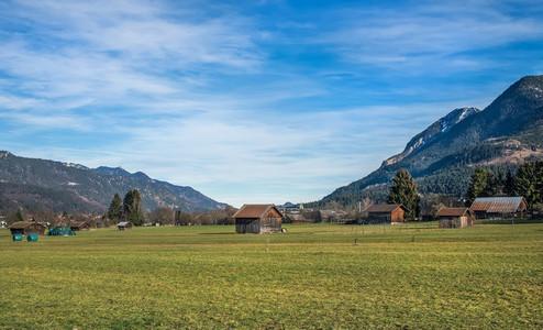 The green valley in Bavarian Alps near Garmisch Partenkirchen to