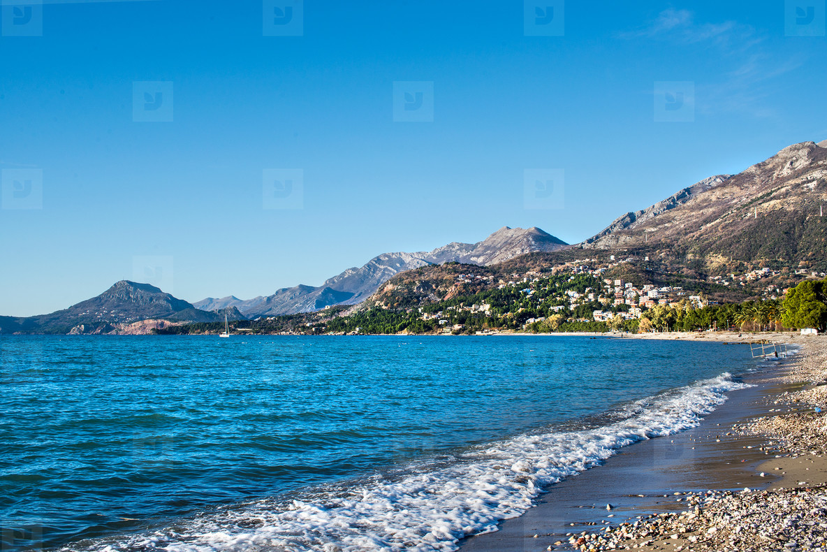 The landscape of the Adriatic coast of Bar  Montenegro  The sea