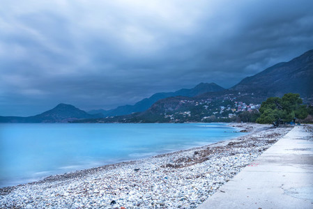 The landscape of the Adriatic coast of Bar  Montenegro before th