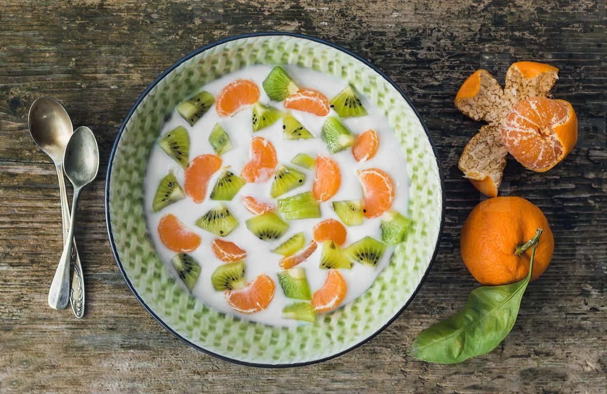 Fresh and healthy vegetarian breakfast set  a bawl of yogurt wit