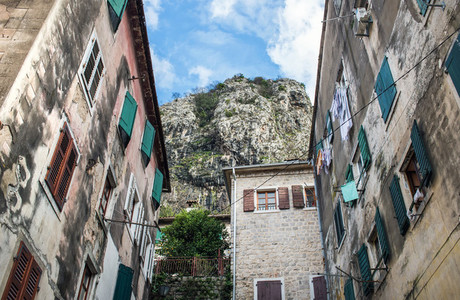 Typical local houses of the old town of Kotor  Montenegro  with