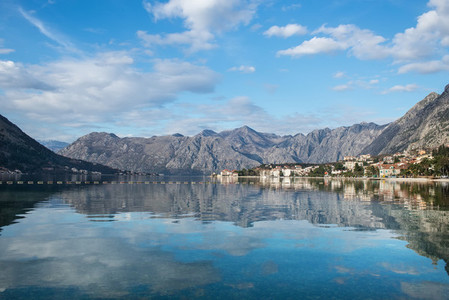 The view over the bay of Kotor in Montenegro Balkans