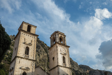 Tower with a clock in the old city of Kotor  Montenegro