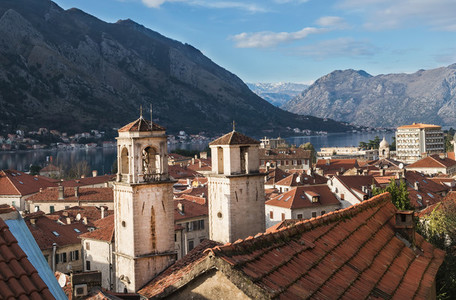 The view over the bay of Kotor  Montenegro  the two towers and t