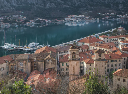 The view over the red roofs and yachts of Kotor  Montenegro  fro