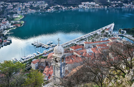 The view over the town of Kotor  Montenegro  the old chapel  the