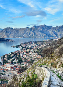 The view over the town of Kotor  Montenegro  the bay and the mou
