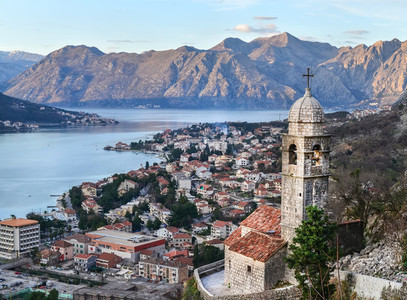 The view over Kotor  Montenegro  the old church  the bay and the
