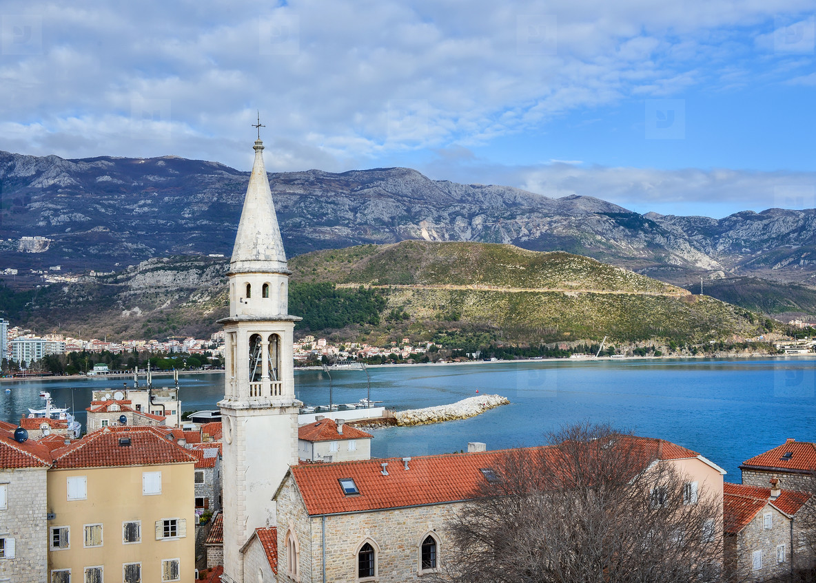 The view over the old town center of Budva  Montenegro  the chap