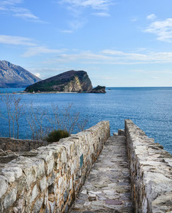 The view over Saint Nikolas island and the Adriatic sea from the