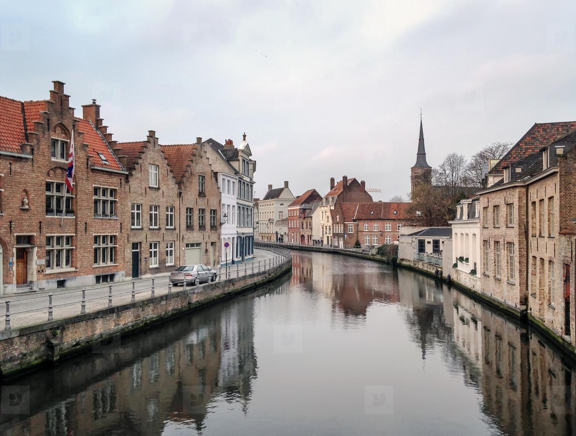 Medieval channel in Bruges  Belgium