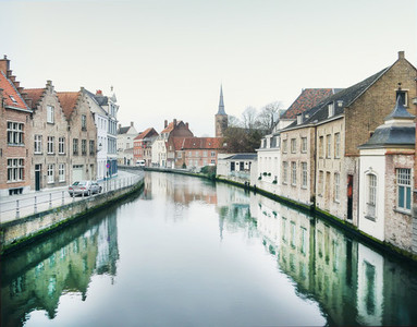 Medieval channel in Bruges  Belgium