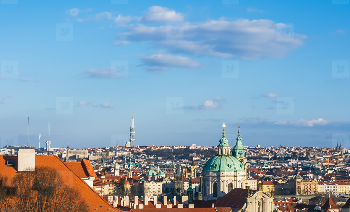 The view over Prague rooftops