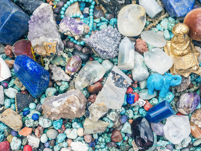 Stones and minerals at the flee market stall