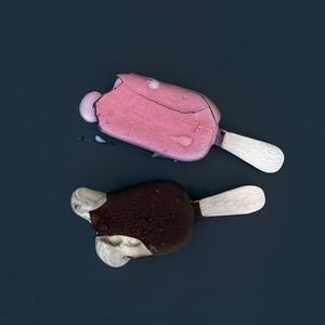 Two pieces of ice cream