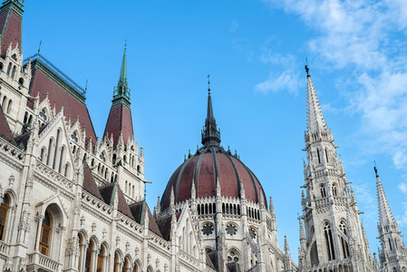 The building of the Hungarian Parliament in Budapest  Hungary with blue sky backdrop