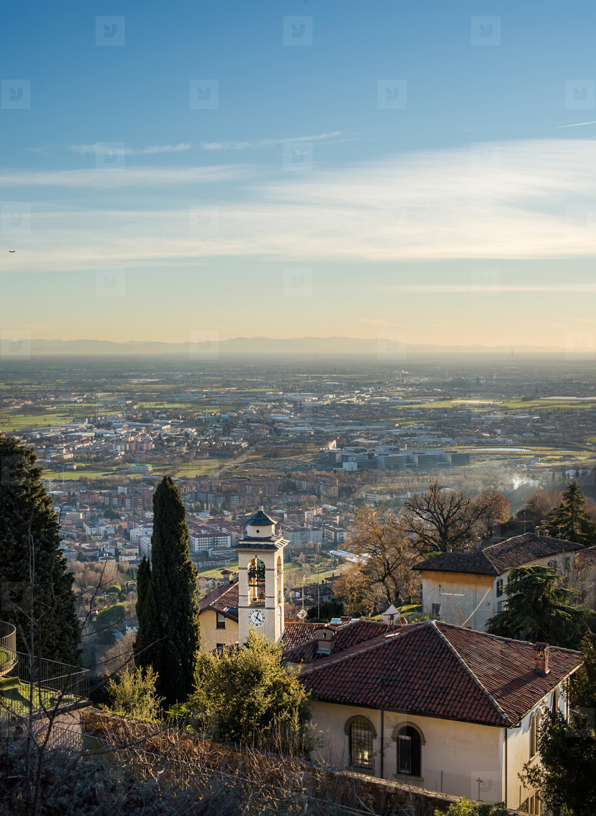 View over Citta Alta or Old Town buildings in the ancient city of Bergamo  Lombardia  Italy on a clear day  taken from San Virgilio point