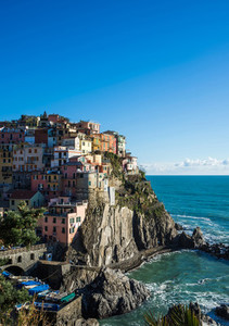 Scenic view of Manarola village and the sea in Liguria region  Cinque Terre  northern Italy on clear day