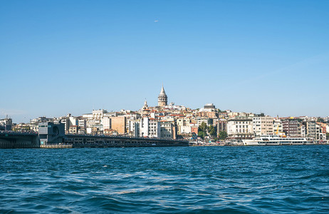 ISTANBUL  TURKEY   SEPTEMBER  26  View of Karakoy  Galata bridge  Galata Tower and the Golden Horn from Eminonu coast  Autumn  2015