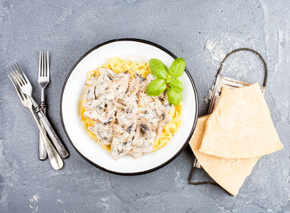 Tagliatelle pasta with mushrooms and creamy sauce  parmesan cheese over concrete textured background