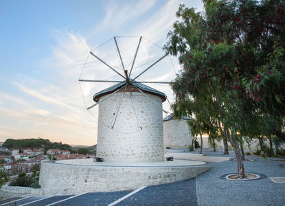 Traditional windmills in Alacati Izmir province Turkey