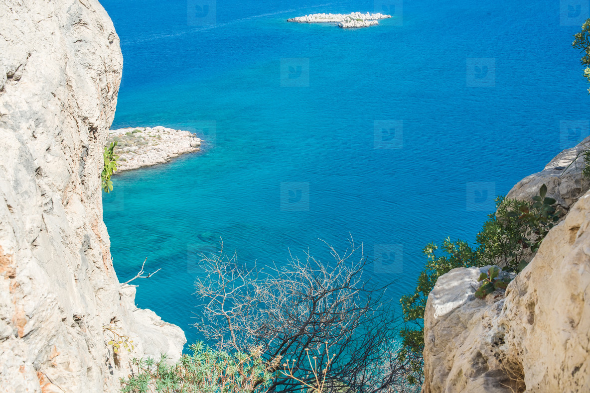 View over the sea from ancient fortress on the Greek island of Kastelorizo