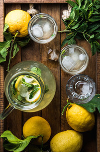 Homemade mint lemonade served with fresh lemons and ice over wooden background top view copy space