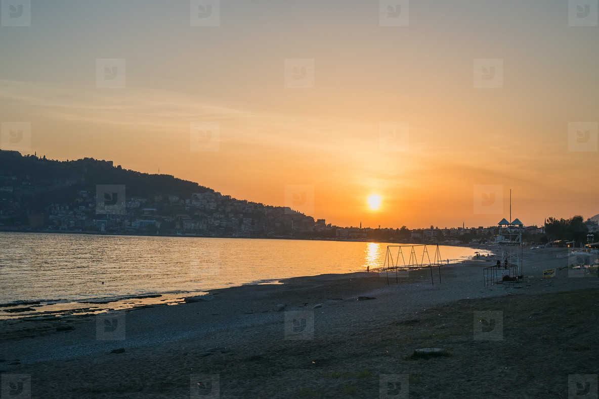 Sunset at the beach in Alanya  Turkey