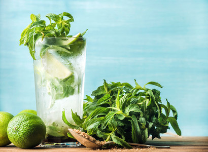Mojito summer cocktail in tall glass with mint  brown sugar and limes
