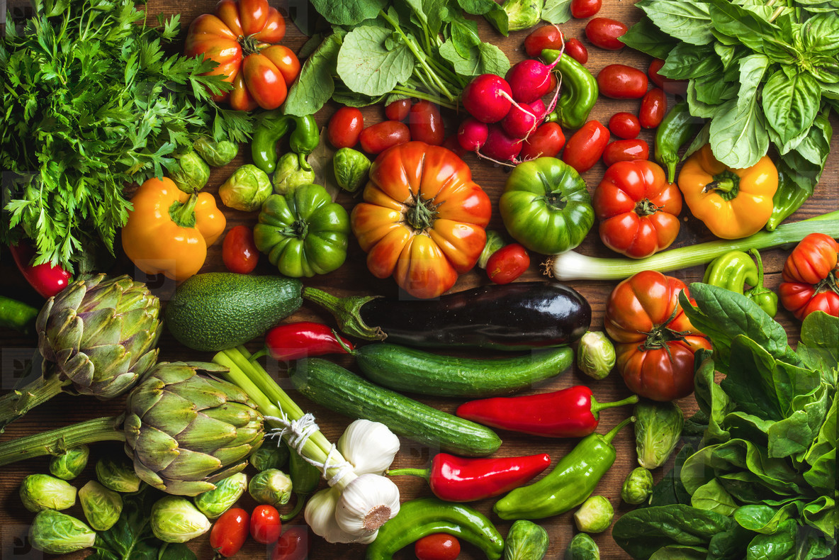 Fresh raw ingredients for healthy cooking or salad making