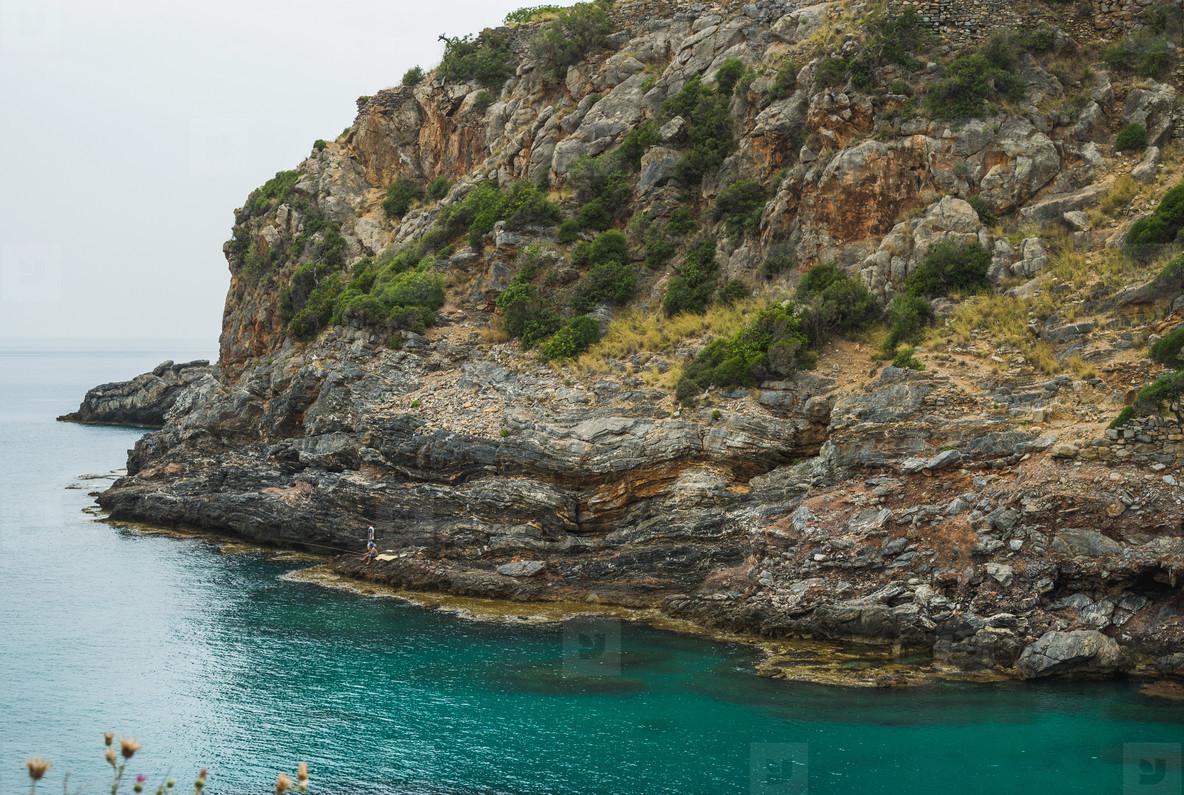 Turquoise sea bay with cliff in Turkey  Mediterranean region