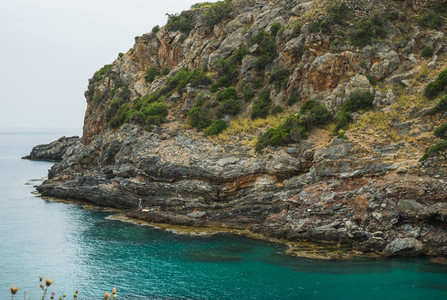 Turquoise sea bay with cliff in Turkey  Mediterranean region