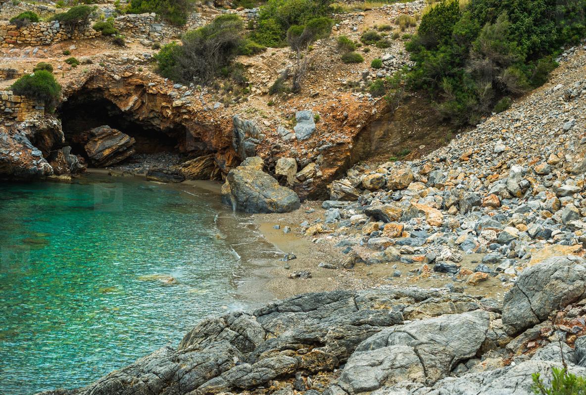 Turquoise sea bay with cave in Turkey  Mediterranean region