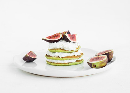 Marrow pancakes with fresh figs and soft cheese