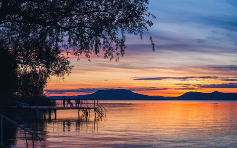 Colorful sunset at lake Balaton i