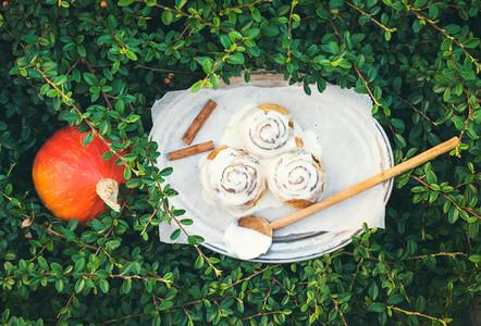 Cinnamon pumpkin buns with creamy cheese icing and ripe round pu