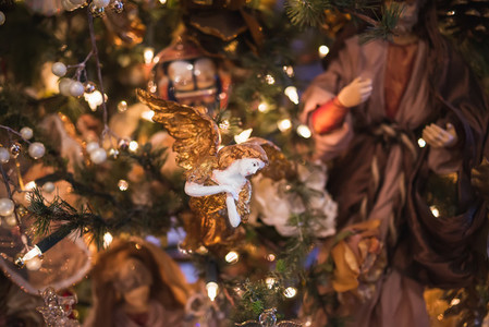 Christmas tree decoration with a porcelain angel