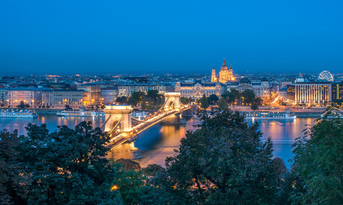 The view of the Chain bridge  Saint Istvan s basilica and the Da