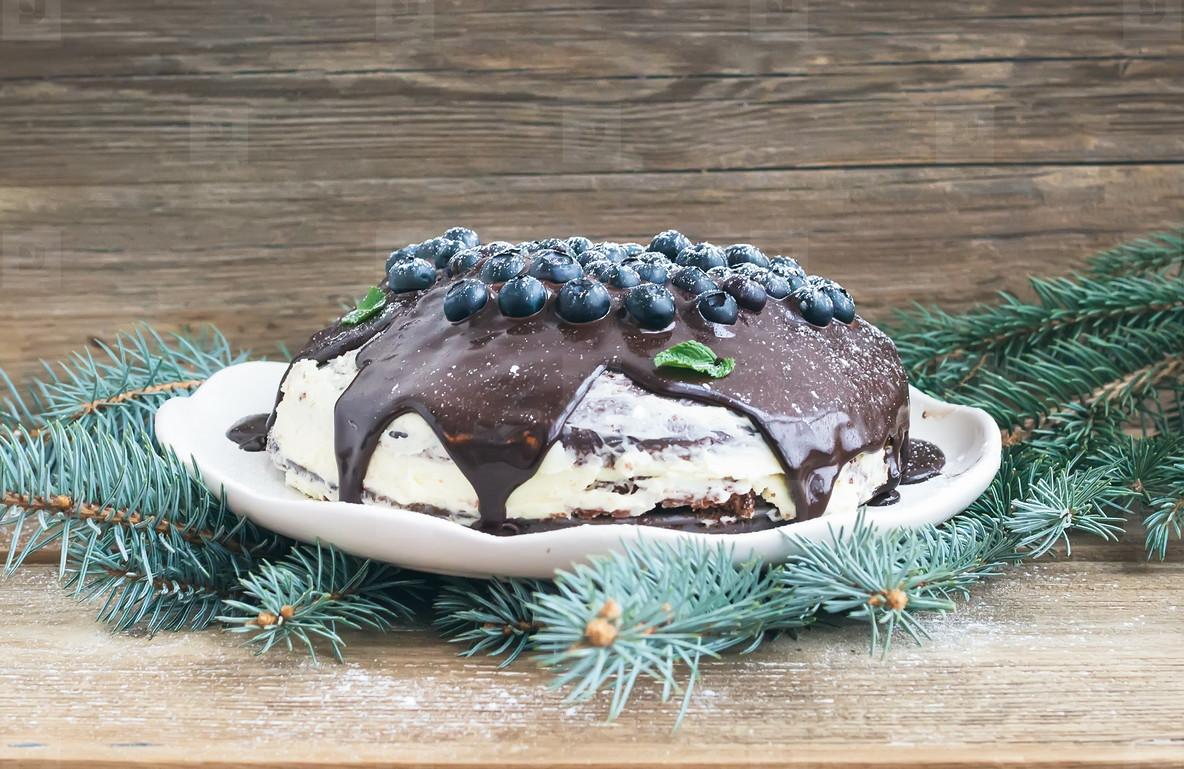Christmas chocolate cake with chocolate ganache  cream cheese fi