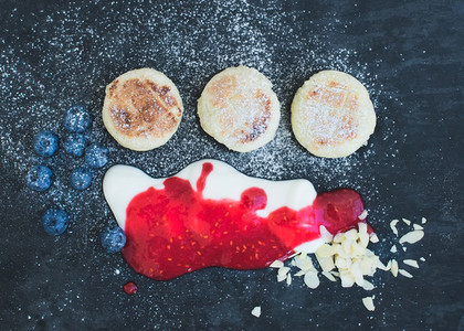 Breakfast set  cottage cheese pancakes with fresh blueberry  yog