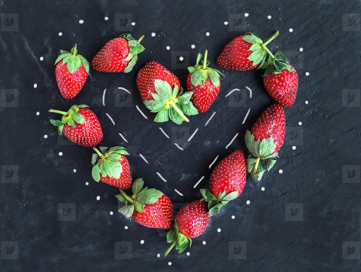 Saint Valentine s day greeting berry set  fresh garden strawberr