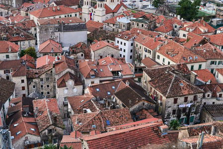 The view over red tiles roofs of the old center of Kotor Monten