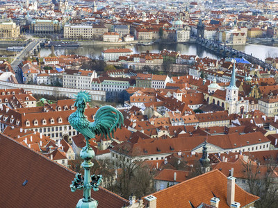 The view over Prague town and the Vltava river from the tower of