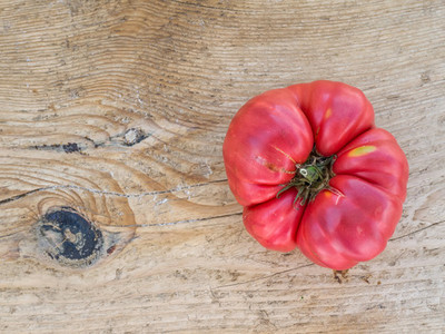 Ripe tomato on wooden desk